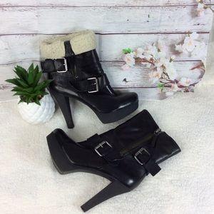 Nine West Black Platform Ankle Boots Sz 7.5